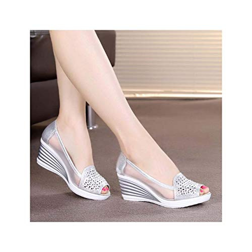 66ab6190494bf New Women's Summer Fish Mouth Wedge Sandals Shoes Rhinestones OL Hollow Net  Shoes Silver 35