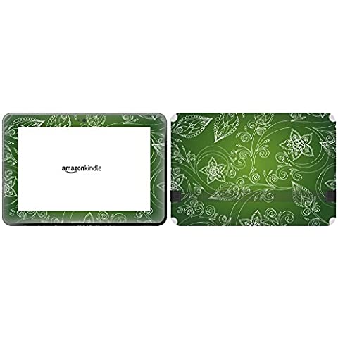 Get It Stick It skintabamafirehd89 _ 97 Color Blanco Diseño de flores sobre un fondo de color verde lima para Amazon Kindle Fire HD de
