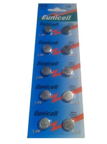 AG10 ( 1 Blistercard = 10 Batterien ) 1,5V Alkaline Markenware Eunicell