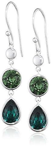 Elements Damen-Ohrstecker 925 Sterling Silber Swarovski-Kristall grün