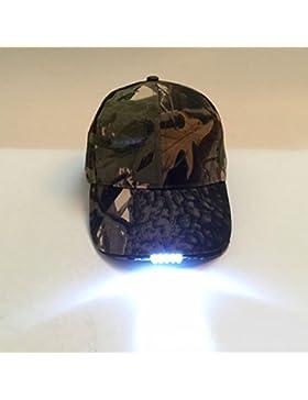 Qind Fashion - Gorra de Béisbol LED para Exteriores, Sombrero con Batería para Camping, Pesca, Deportes, Viajes...