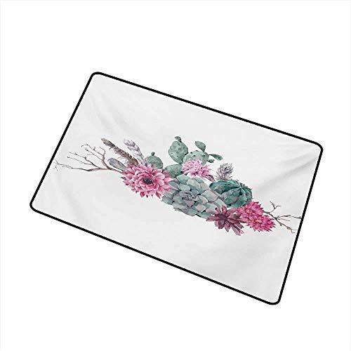 Kinhevao Saftige universelle Fußmatte Federn Blumen Kakteen ethnischen Hipster Elemente Vintage Fashion Fußmatte Bodendekoration, Salbei grün blass rosa lila Badematte