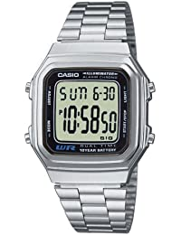 Casio Collection – Reloj Unisex Digital con Correa de Acero Inoxidable – A178WEA-1AES