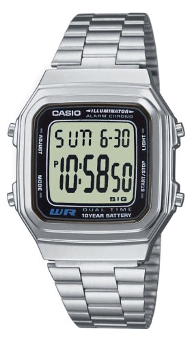 CASIO COLLECTION A178WEA-1AES - RELOJ UNISEX DE CUARZO  CORREA DE ACERO INOXIDABLE COLOR PLATA