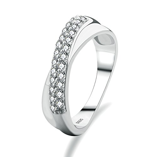 GULIX Sterling Silver Wedding Band CZ Women Queen Eternity Engagement 925 Ring Size K,M,O,Q,S,U,V