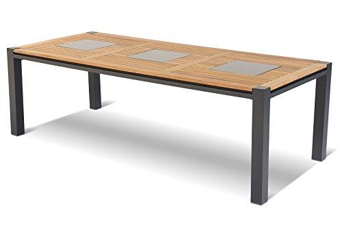 HARTMAN stilvoller Dining Chef Esstisch, hochwertiges Aluminiumgestell in xerix, hellbraune FSC-Teakholz Tischplatte inkl. Marmor-Inlays, ca. 240 x 103 x 74,5 cm, Gartentisch Holztisch, wetterfest