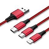 Multi Cavo USB, EVIISO 3 in 1 Micro USB&USB Tipo C Nylon Intrecciato Cavo di Ricarica con Micro USB 2.0/USB Type C Connettori Per Dispositivi Android Samsung Galaxy,HUAWEI,Xiaomi,Honor,LG,MP3 (Red)