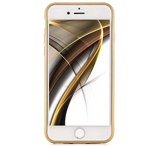 Custodia iPhone 8 / iPhone 7 Cover + Vetro Temperato Completa Silicone Piena Copertura [zanasta] Case Flessibile, Ultra Sottile Premio Flessibile e Durevole Structure Carbonio Design   Argento Oro