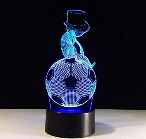 BOC Luz de Noche Colorido Control Remoto 3D Toque Led Luz Pensamiento Fútbol,UNA,Lámpara