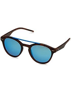 Polaroid doppio ponte occhiali da sole all'Avana opaco blu specchio polarizzato rotondi PLD 6030/S N9P 50 5X