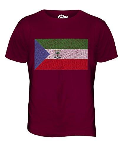 CandyMix Guinea Equatoriale Bandiera Scarabocchio T-Shirt da Uomo Maglietta Bordeaux