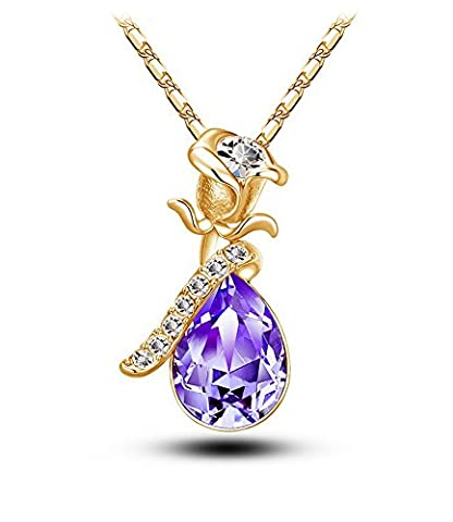 Celebrity Jewellery Pourpre Swarovski Elements Cristal Goutte d'eau Baisse Pendentif Rose Fleur Love Collier