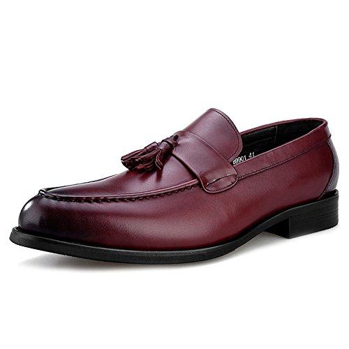 MERRYHE Herren Leder Oxfords Schuhe Kleid Loafers Business Wohnung Fahr Schuhe Für Männer Walking Mokassins Deck Schuh,Red-43