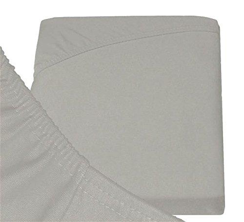 Double Jersey - Spannbettlaken 100% Baumwolle Jersey-Stretch bettlaken, Ultra Weich und Bügelfrei mit bis zu 30cm Stehghöhe, 160x200x30 Silber Grau - 6