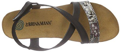 Dr. Brinkmann 710731, Sandales ouvertes à talon compensé femme Noir - Schwarz (schwarz/silber)