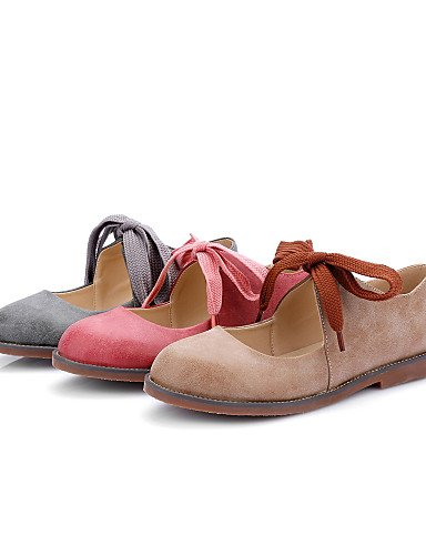 WSS 2016 Chaussures Femme-Habillé / Décontracté-Rouge / Gris / Amande-Talon Bas-Talons / Bout Arrondi-Talons-Similicuir almond-us8.5 / eu39 / uk6.5 / cn40