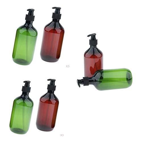 Hellery 6X Schaumseifenspender Seifenspender Seifenschaumspender mit Pumpfkopf, Farbe: Durchsichtig und Getönt, 500ml Füllmenge -