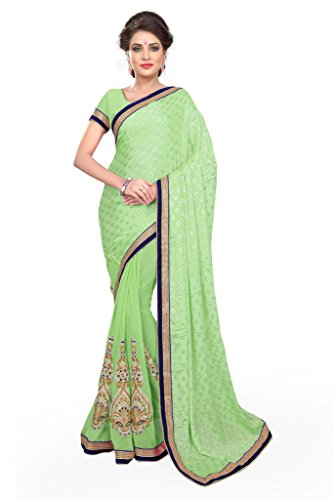 SOURBH Women's Jacquard,Faux Georgette Saree (698_Pista Green)  available at amazon for Rs.1095