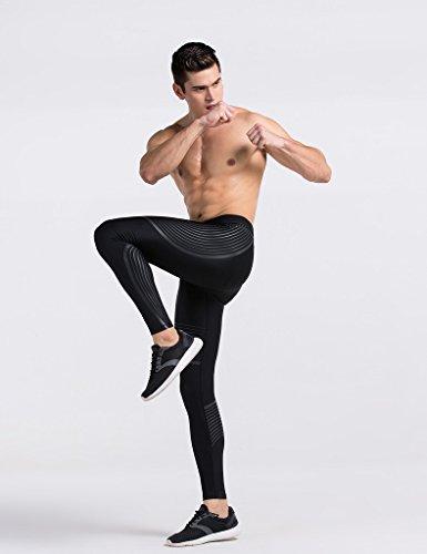 JIMMY DESIGN Herren Leggings Kompression Hose Schwarz – M - 5