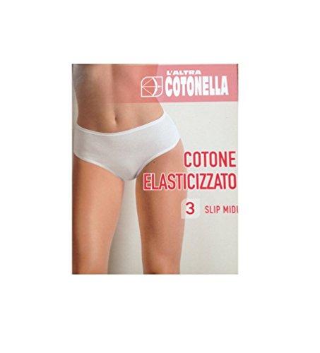 3 Slip midi donna l'altra Cotonella 3940 colore nero cotone elasticizzato (6/XXL)