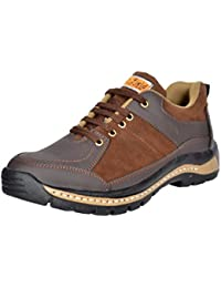 RICH FIELD Men's Leather Brown Shoes with Steel Toe (7)