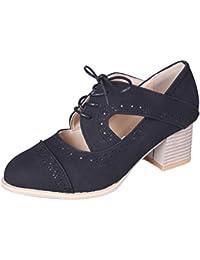 release date 73043 3c83a Tomwell Femmes Chic Sandale Petit Talon Lacets Court Boot Couleur Unie  Bottine Creux Sandals Ete Chaussure