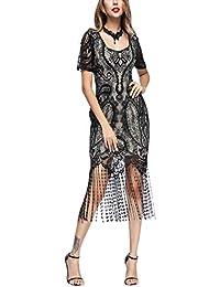 FeelinGirl 1920s Vintage Fleco Encaje Vestido de Fiesta para Mujer