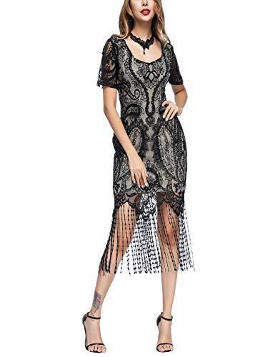 Damen Kleid Retro 1920er Stil Flapper Kleider mit Zwei Schichten Troddel V Ausschnitt Great Gatsby Motto Party Kleider Damen Kostüm Kleid