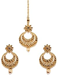 Bindhani Traditional Gold Plated Bridal Maang Tikka Jewellery for Women and Teen Girls