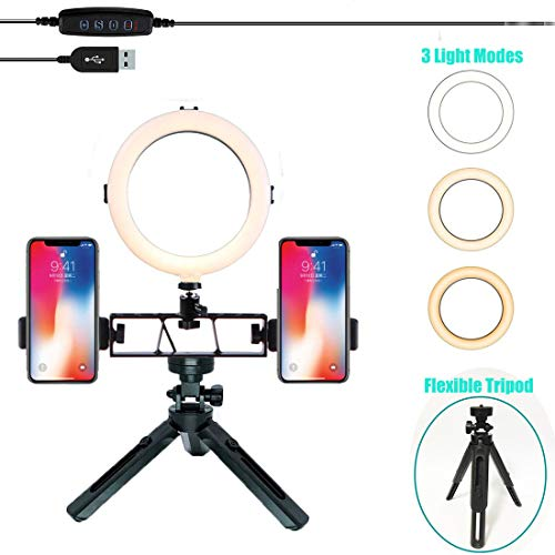 [Upgrade-Version] 20,3 cm Selfie-Ring-Licht mit Stativ-Ständer und Zwei Handy-Halterung, professionelle Mini LED Kamera Ringlicht für Live Stream/Make-up/YouTube Video kompatibel mit iPhone/Android Pro Ring-flash