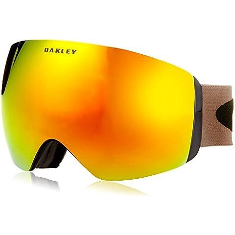Oakley, Maschera da snowboard Flight Deck, colore Nero/Logo Verde Oliva/Banda Kaki (Herb Kaki)/Lenti Fuoco Iridium (Fire