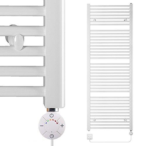 VEVASTO Badheizkörper elektrisch 1.662 x 600mm Handtuchheizkörper 600 Watt Handtuchtrockner weiß inkl. Heizstab Smart Thermostat