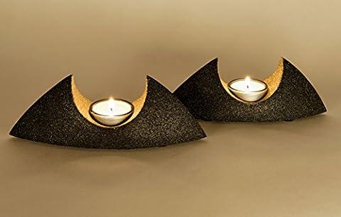Teelichthalter-Set Candle Boat Diese Tischdeko werden Sie lieben Geschütztes Design Deutsche Handarbeit kleine Serie Die neutrale Farbkombination des Kerzenständers passt zu jedem Wohnambiente.