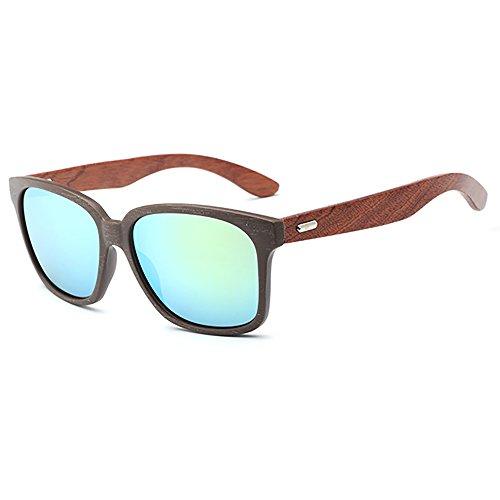 SHEEN KELLY Sonnenbrille Polarisiert in Holz Optik Hochwertige Gläser mit UV Schutz Blau Silber Schwarz Spiegel
