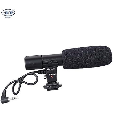 sidande MIC-01Video Digital estéreo de 3,5mm Micrófono de grabación para Canon Nikon Pentax Olympus Panasonic cámara réflex digital DV