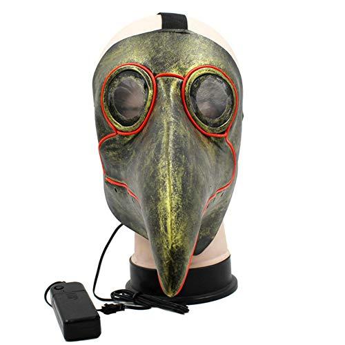 Frauen Kostüm Pest Doktor - WEISY Halloween Maske EL Draht Leuchten für Erwachsene Männer Frauen, Glühende Pest Doktor Maske Vögel Halloween Cosplay Kostüm für Party Halloween