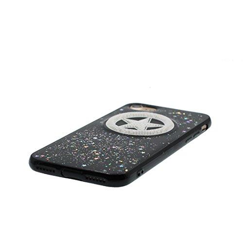 iPhone 7 Plus Custodia, Design morbido mobile Case iPhone 7 Plus copertura Cover e ring supporto Shell Graffi Resistenti - ciliegia Nero 4