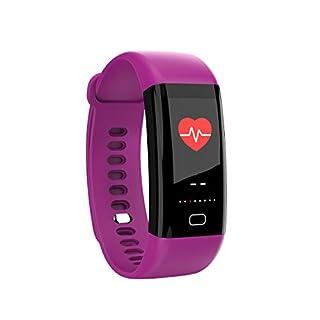 AnggoFitness-Tracker, farbiges Display, Pulsmesser, Schrittzähler, Schlafüberwachung, wasserdicht, geeignet zum Schwimmen, Laufen, Sport, für iPhone und Android., violett