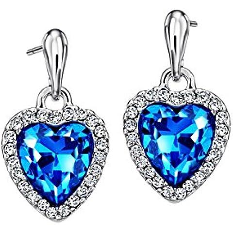 NEOGLORY Pendientes de Corazón con Cristal Azul Joya Original Chicas Mujeres