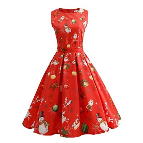 69337fdde567e3 KOLY Vestito di Natale delle Donne Pin Up Swing Senza Maniche Dress del  Pannello Vintage Stampato Cocktail Dance Party Matrimonio Abiti Vestito  Vestito da ...