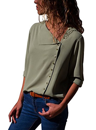 Happy Sailed Womens Long Sleeve Button Down Chiffon Blouse Basic Solid Shirts