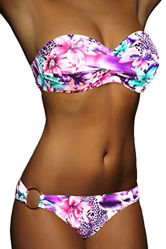 ALZORA Twist Push Up Bandeau Bikini Set Damen Pushup Badeanzug viele Farben und Größen (XS, Neonpink)