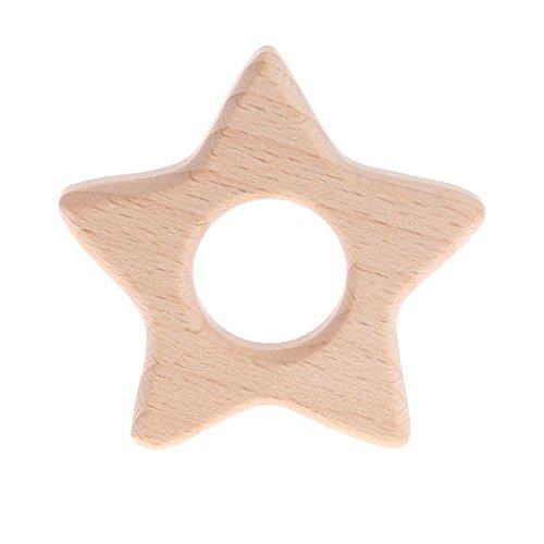 LANDUM Handmade Natur Holz Tierform Baby Kinder Beißring Kinderkrankheiten Spielzeug Dusche Geschenk