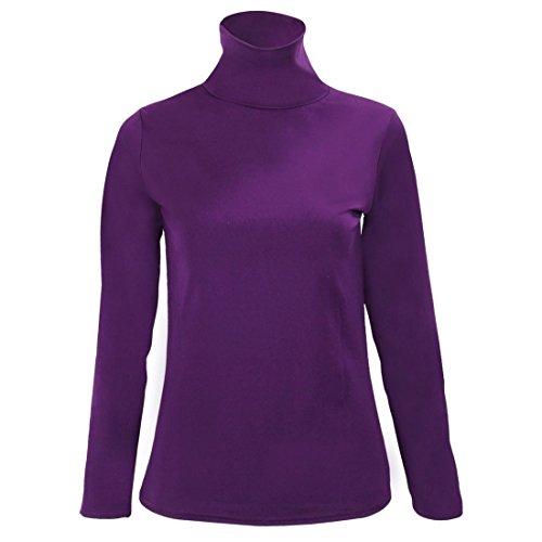 SODIAL(R) Blouse du tricot en col roule A manches longues extensible pour les femmes - Blanc M Violet