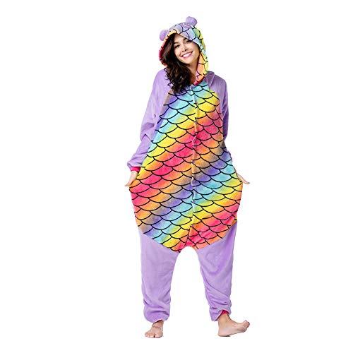 AIPM Tier Pyjamas Cartoon Kostüm Jumpsuit Nachtwäsche Kinder Schlafanzug Erwachsene Unisex Fasching Cosplay Karneval, M(Höhe145-185M),L