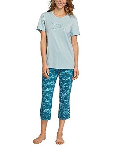Schiesser Anzug 3/4, 1/2 Arm, Pyjamas Deux-Pièces Femme, Blau (Aqua 833), 42
