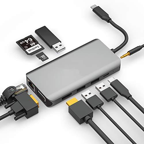 GACHI Hub USB C, Adaptador USB Tipo C 10 1 HDMI 4K