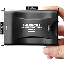 Musou Scart a HDMI Convertidor de Euroconector HD Vídeo Compuesto Adaptador de Audio Estéreo para SKY HD Blu Ray DVD APPLE TV PS3