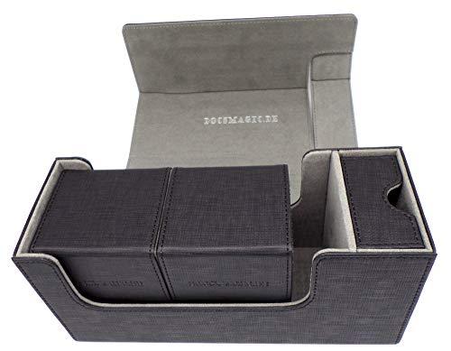 docsmagic.de Premium Magnetic Tray Long Box Black Small + 2 Flip Boxes - Schwarz -