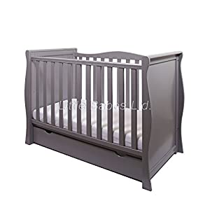 New Pinewood Grey Sleigh Mini COT Bed & Drawer ONLY Children's Beds Home Internal Dimensions in cm's are 140x70, 160x80, 180x80, 180x90, 190x90, 200x90 (External: 147x78, 167x88, 187x88, 187x98, 197x98, 207x98) Total height up to the top of the safety barrier is 51cm Universal bed entrance - left or right side. Front barrier can also be removed at a later stage. Bed Frame has load capacity of up to 190kg 3